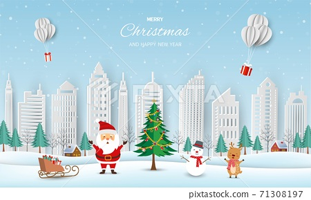 Merry Christmas and Happy new year greeting card,winter landscape with Santa Claus and friends send gift boxes by balloons 71308197