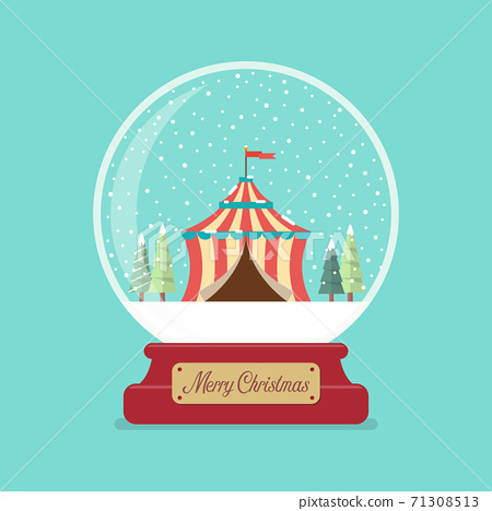 Circus tent in Merry christmas glass ball 71308513