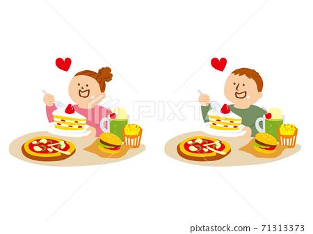 一個人吃高熱量餐的插圖 71313373