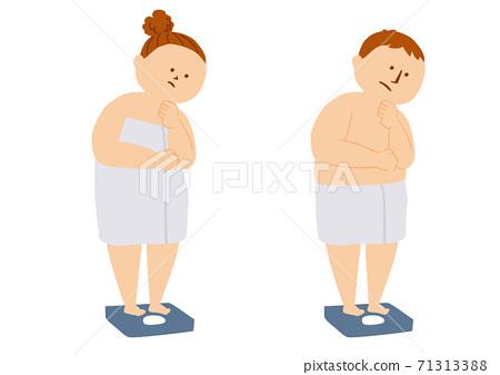 體重豐滿的人的插圖 71313388