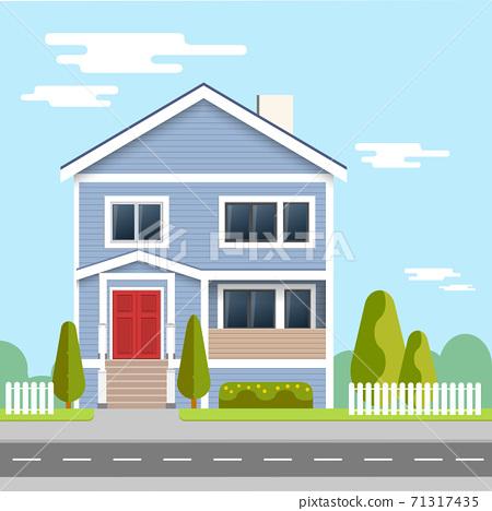 Flat illustration design . Family home. Flat design concept vector illustration. 71317435