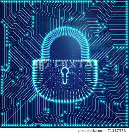 Coputer internet cyber security background. Cyber crime vector illustration. digital lock 71317578