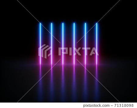 3D rendering Glowing Neon Lights on dark background 71318098