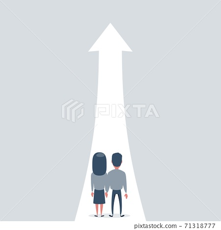 Family growth vector concept with man and woman walking towards upwards arrow. Symbol of success 71318777
