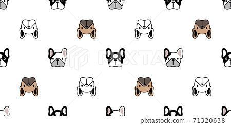 dog seamless pattern french bulldog vector face head pet puppy animal repeat wallpaper tile background scarf isolated cartoon illustration doodle design 71320638