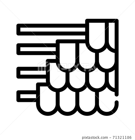 roof covering pile line icon vector illustration 71321186