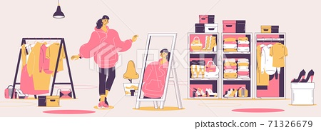 Woman in oversize hoodie watching in mirror. Concept illustration about woman contemporary casual style, youth fashion and wardrobe 71326679