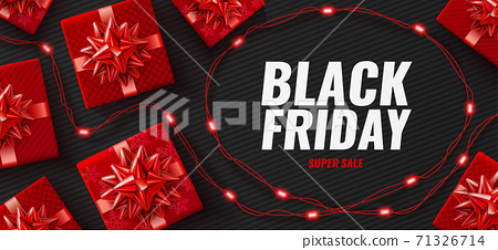 Black Friday Super Sale poster with realistic red gifts boxes 71326714