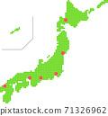日本地圖點城市位置 71326962