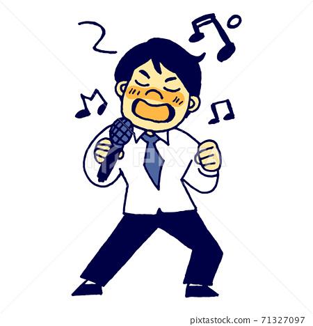 男員工在卡拉OK熱情地唱歌 71327097