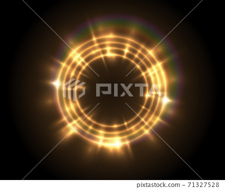 Vector round shiny frame with rainbow lens flare special effect. Luxury golden light ring 71327528