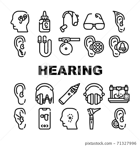 Hearing Equipment Collection Icons Set Vector Illustrations 71327996