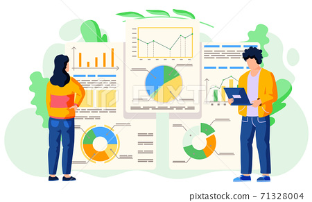 Teamwork concept. Workers communicate, discussion graphical business report with charts and graphs 71328004