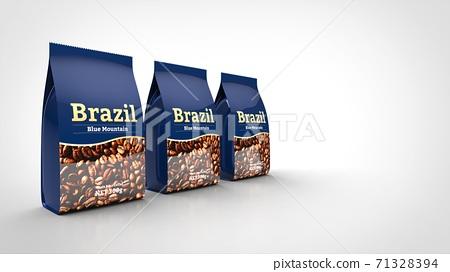 coffee bean package 3 left 3d rendering 71328394
