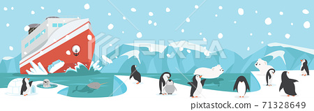 Winter North pole Arctic with animals landscape background 71328649