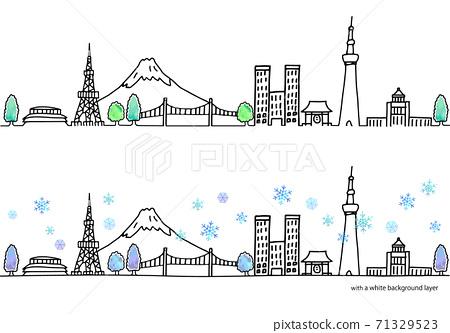 冬季東京城市景觀水平插圖集 71329523