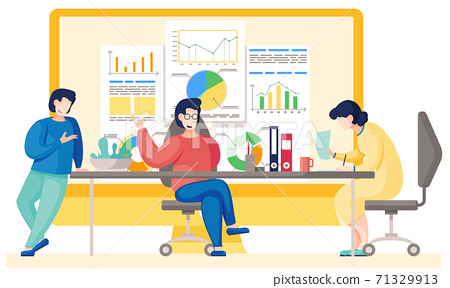Teamwork concept. Office workers communicate, discussion business report with charts and graphs 71329913