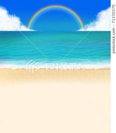 藍色的大海海岸夏天彩虹 71330370