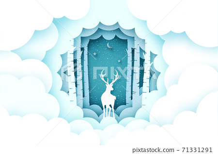 Merry Christmas and winter season background.Deer in pine forest with cloud. 71331291