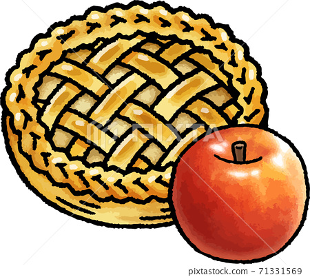 [食物插圖素材]蘋果派和蘋果的手繪矢量圖 71331569