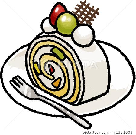 [食物插圖素材]水果卷蛋糕的手繪矢量插圖 71331603