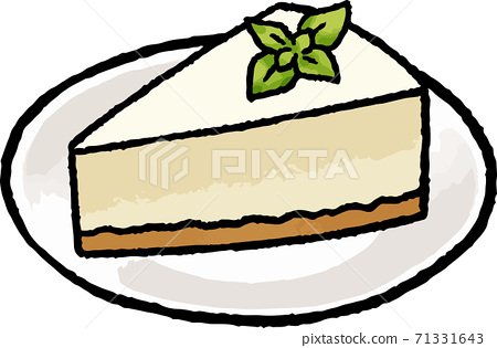 [Food illustration material] Hand-drawn vector illustration of rare cheesecake 71331643