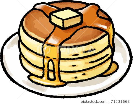 [食物插圖素材]手繪矢量插畫的熱蛋糕 71331668