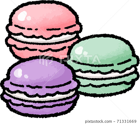 [食物插圖素材]瑪卡龍的手繪矢量圖 71331669