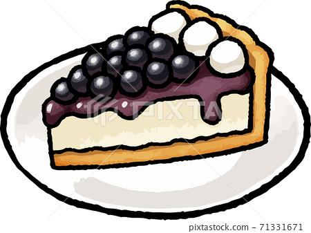 [Food illustration material] Blueberry tart hand-drawn vector illustration 71331671