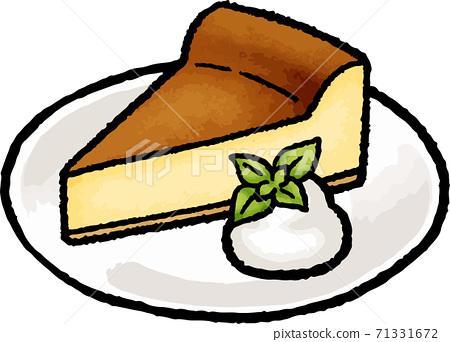 [음식 일러스트 소재] 구운 치즈 케이크 손으로 그린 벡터 일러스트 71331672