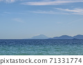 Blue background with mountains and sea 71331774