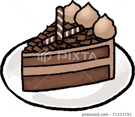 [食物插圖素材]巧克力蛋糕的手繪矢量圖 71331791