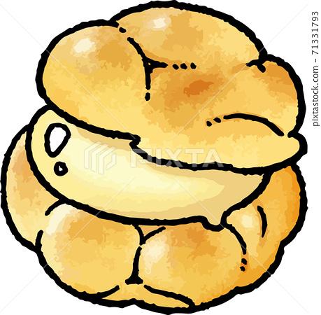 [食物插圖素材]蛋奶奶油泡芙的手繪矢量插圖 71331793