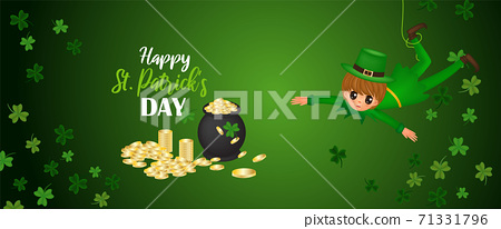 he Rat playing with cauldron , coins ,clovers and hat to event. Happy St. Patrick's Day of vector illustration. 71331796