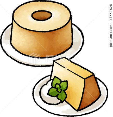 [食物插圖素材]雪紡蛋糕的手繪矢量圖 71331826