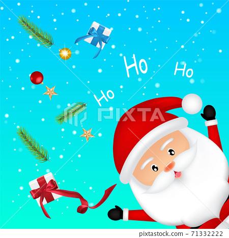 Merry Christmas. Happy Christmas companions. Santa Claus character greeting card. 71332222
