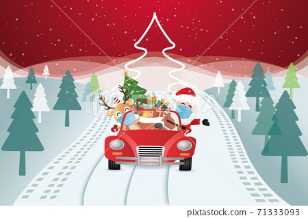 vector of santa claus arriving with christmas gifts in a car 71333093