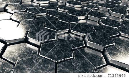 silver metal hexagon background,3d render illustration 71333946