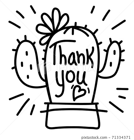 Thank you card with cute Cactus succulent and 71334371