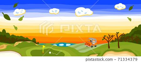 枯葉的冬季黃昏高爾夫球場全景 71334379