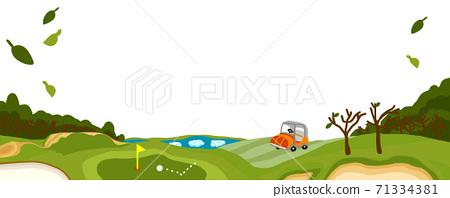 冬季高爾夫球場全景與枯葉 71334381
