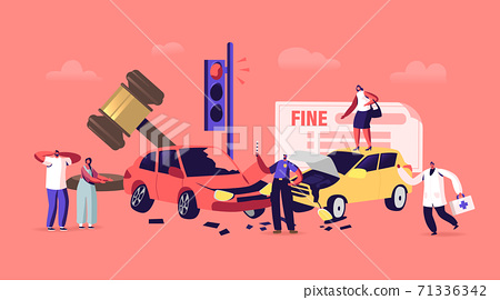 Car Accident on Road, Driver Dweller Characters Stand on Roadside with Broken Automobiles with Police Officer Write Fine 71336342