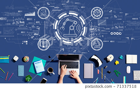 Smart industry concept with person using a laptop 71337518