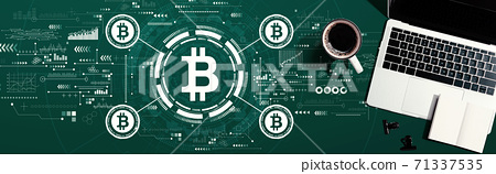 Bitcoin theme with a laptop computer 71337535