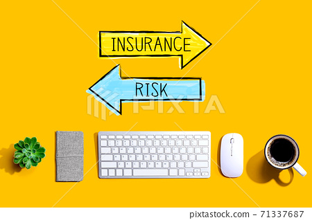 Insurance or risk with a computer keyboard 71337687