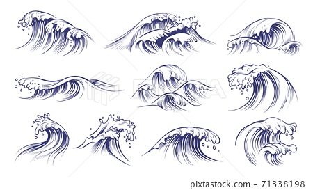 Ocean hand drawn waves. Sketch style sea storm blue water, curly foamy splashes, tsunami and tide vintage collection, surfing season decorative surge wave, vector marine isolated on white set 71338198
