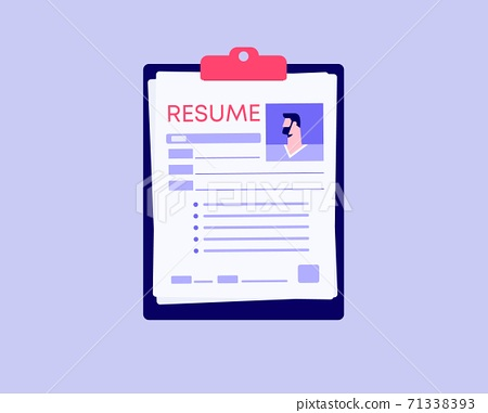 Resume professional profile. Modern corporate characteristic for employer application for employee with work experience. 71338393