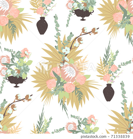 Floral boho seamless pattern with tropical flowers, leaves and bouquets in vases. 71338839