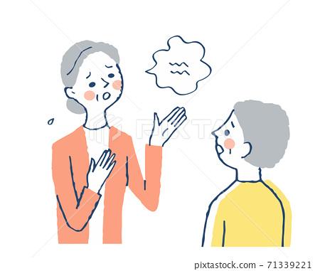 고민을 상담하는 여성과 듣는 여자 71339221