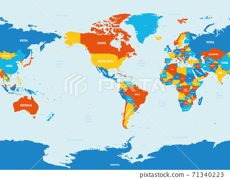 World map - America centered. 4 bright color scheme. High detailed political map of World with country, ocean and sea names labeling 71340223